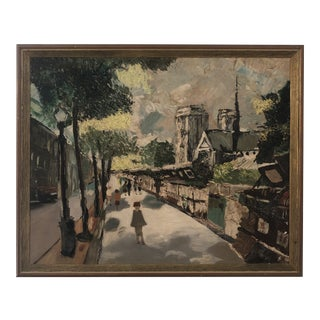 1940s Mid-Century Oil Painting of France For Sale