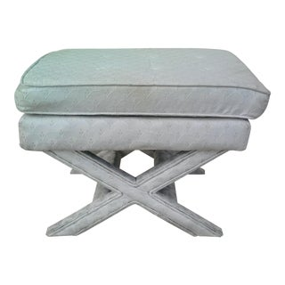 Hollywood Regency Ivory Upholstered X Bench