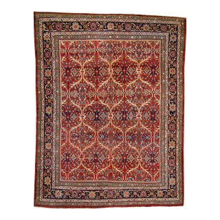 1920s Antique Floral Red Blue Beige Wool Hand-Knotted Rug For Sale