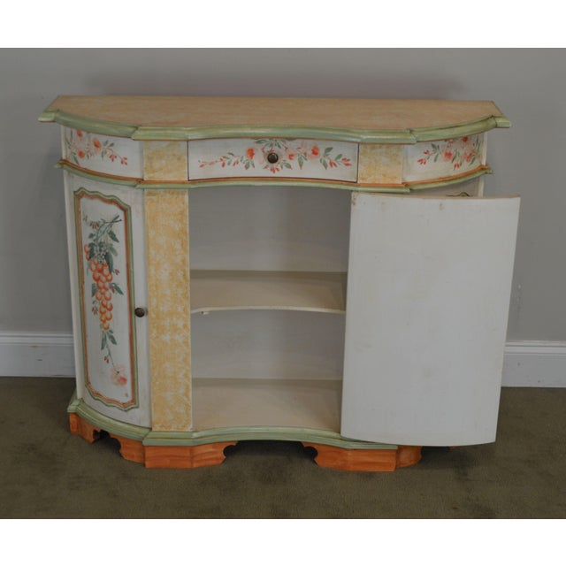 Italian Hand Painted Narrow Serpentine Console Cabinet For Sale - Image 12 of 13