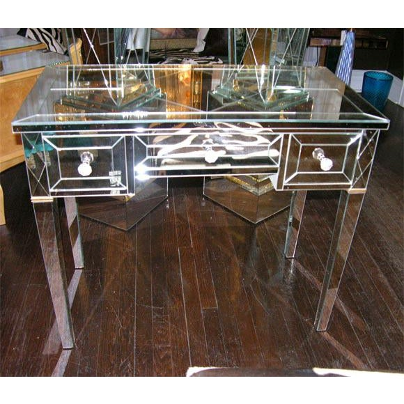 2000 - 2009 Custom Mirrored Writing Desk For Sale - Image 5 of 5