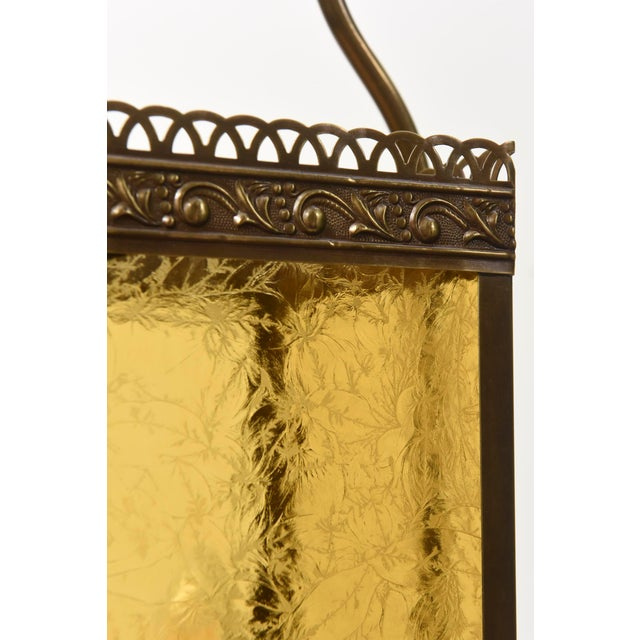 Victorian Harp Lantern with Amber Glass For Sale In Boston - Image 6 of 11