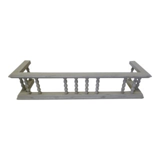 Gray Antique European Oak Fireplace Fender W Spindles For Sale
