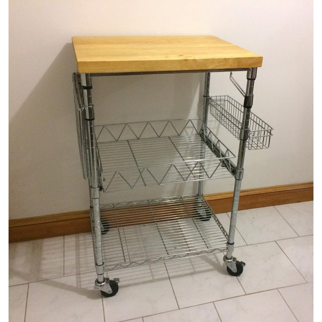 Kitchen Cart With Wood Butcher Block Top For Sale - Image 13 of 13