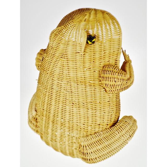 Mid 20th Century Vintage Natural Wicker Frog Planter Basket For Sale - Image 5 of 13