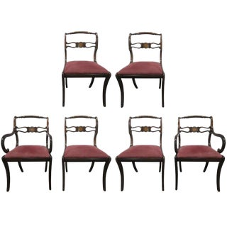Six Rosewood English Regency Style Dining Room Chairs For Sale