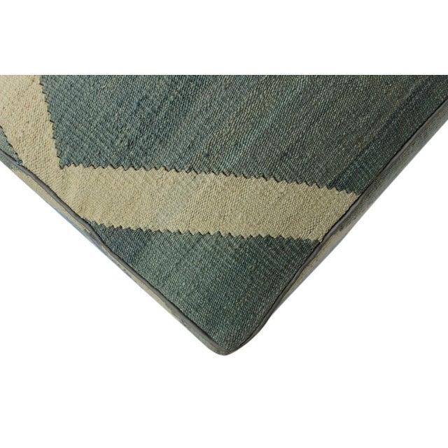 Arshs Daniel Gray/Ivory Kilim Upholstered Handmade Ottoman For Sale In New York - Image 6 of 8