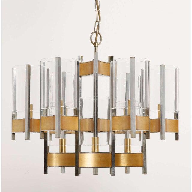 Gaetano Sciolari Sciolari Brass Glass Sculptural Chandelier,1970s For Sale - Image 4 of 11