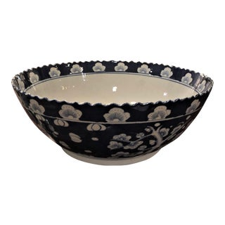 Navy Plum Blossom Motif Porcelain Bowl For Sale