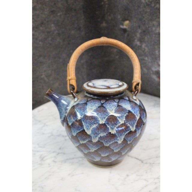 Blue Ceramic Teapot with Wooden Handle For Sale - Image 8 of 8