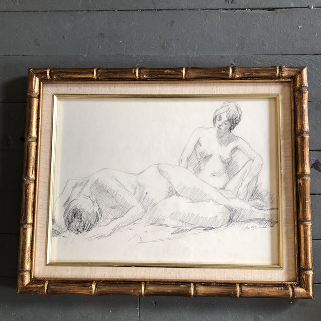 1970s Original Vintage Double Female Nude Charcoal Study Drawing Signed For Sale - Image 5 of 5