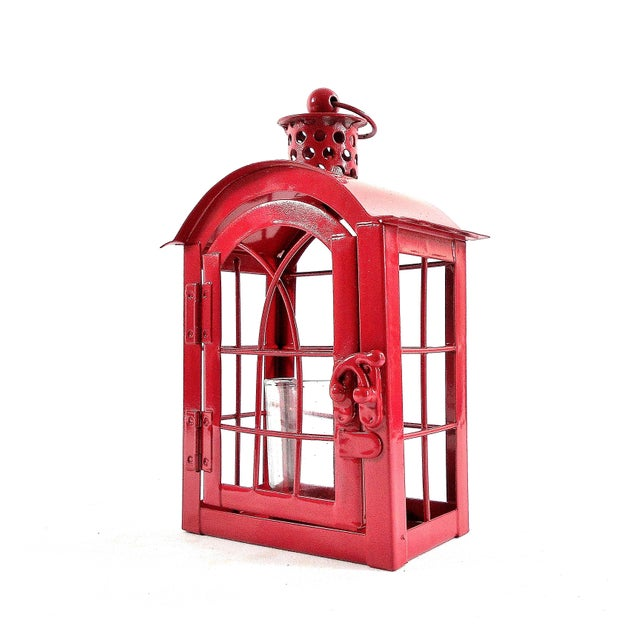 Red Metal Votive Candle Lantern For Sale - Image 10 of 10
