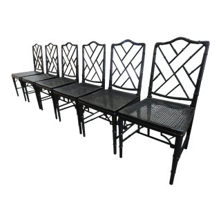 Black Faux Bamboo Chippendale Side Chairs - Set of 6