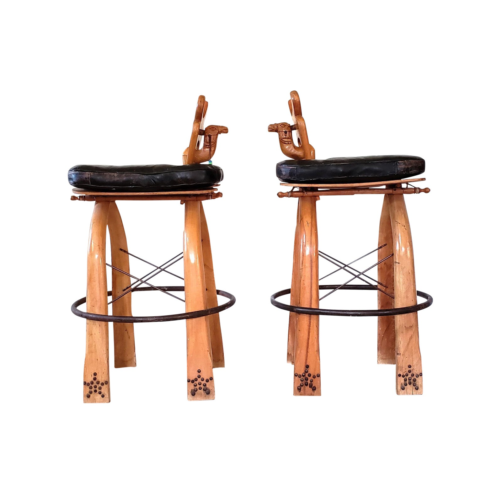 Turkish Wood Camel Saddle Stools A Pair Chairish