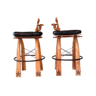 Turkish Wood Camel Saddle Stools - a Pair