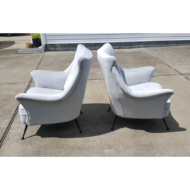 1950s Gio Ponti Style Italian Lounge Chairs - a Pair For Sale - Image 5 of 12