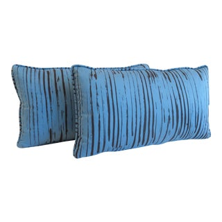 Custom Blue Brushtroke Pattern Pillows- a Pair For Sale