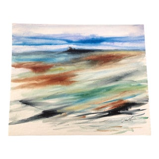 """Nancy Smith Contemporary Original Watercolor Landscape """"Trees in the Distance"""" For Sale"""