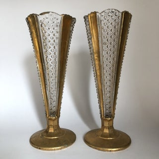 Gilded Glass Trumpet Vases - a Pair Preview