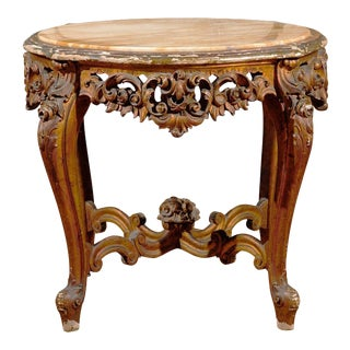 19th Century Rococo Style Italian Side Table with Siena Marble and Carved Base For Sale