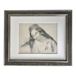 Antique French Master Drawing of Woman For Sale