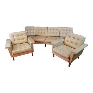 Danish Modern Light Grey Leather Mid-Century Modern Sofa Set - Set of 3
