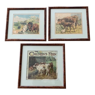 Early 20th Century Children's Book Prints, Framed - Set of 3 For Sale