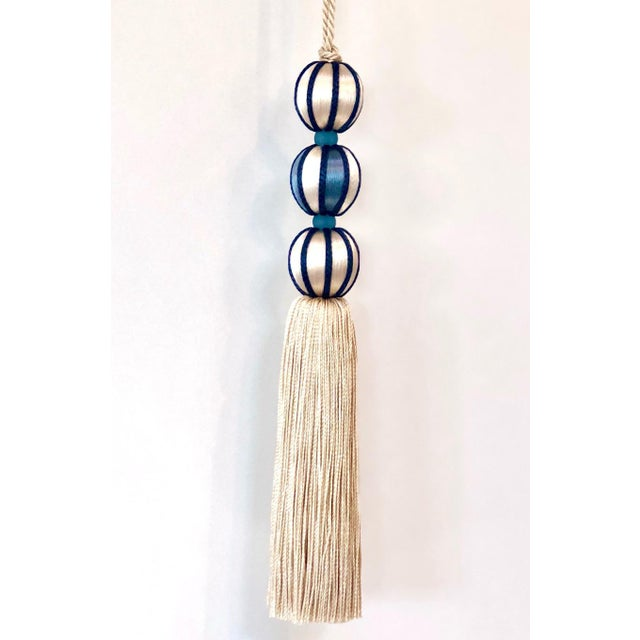 "Tall Marine Blue & Cream Beaded Key Tassel - H - 7.5"" For Sale - Image 4 of 8"