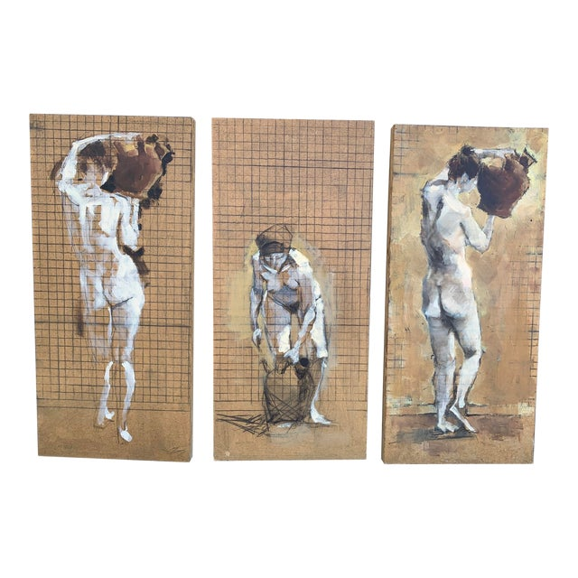 Original Nude Triptych, Mixed Media on Wood For Sale