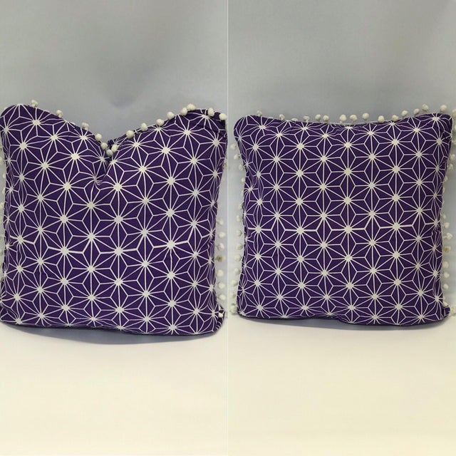 Moroccan Purple Cotton Pillows - a Pair For Sale - Image 4 of 4