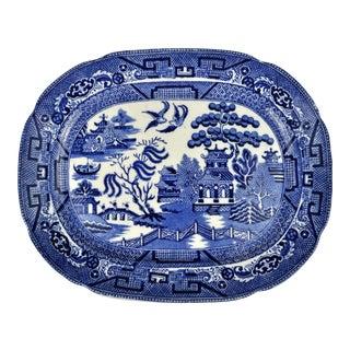 1920 Allertons Blue Willow Serving Platter For Sale