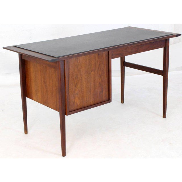 Walnut Medium Small Danish Mid-Century Modern Oiled Walnut Desk With Slate Top For Sale - Image 7 of 11