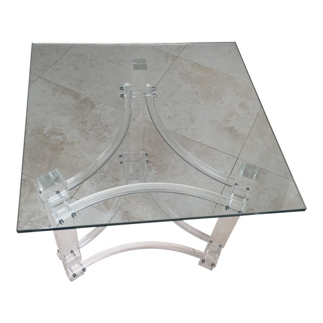 Mid-Century Lucite Glasstop End Table - Image 1 of 3