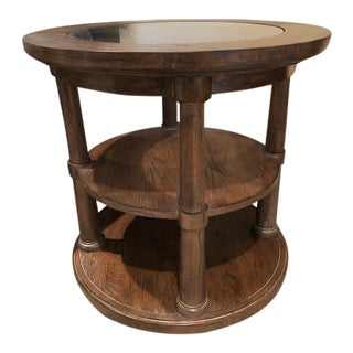 Traditional Bassett Furniture Compass Round Side Table For Sale