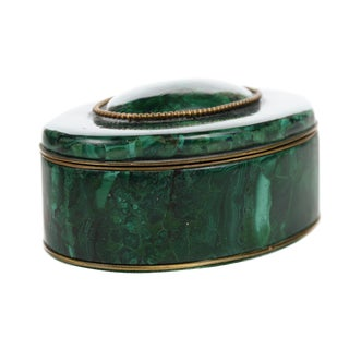 Russian Malachite Oval Compact Jewelry Box For Sale