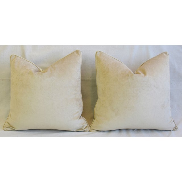 """French Jacobean Floral Feather/Down Pillows 24"""" Square - Pair For Sale - Image 11 of 13"""