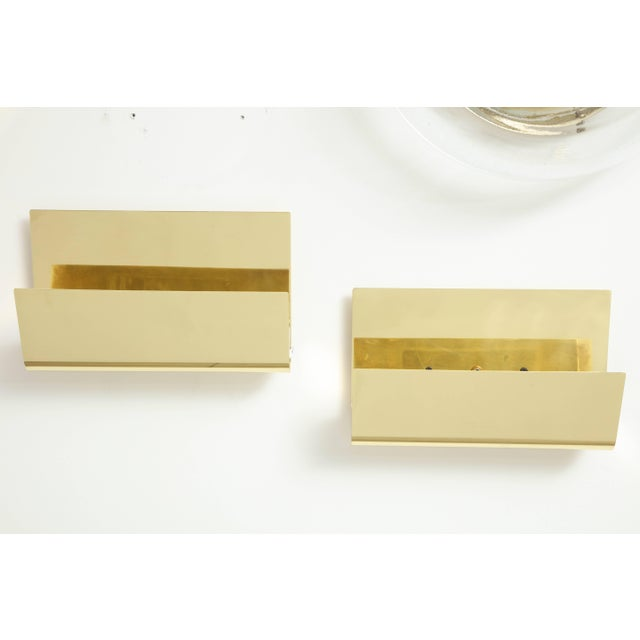 Minimalist Italian Brass Sconces - a Pair For Sale In New York - Image 6 of 9