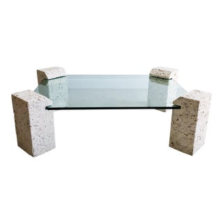 Vintage Four Pedestal Solid Coral Rock Coquina Stone and Glass Coffee Table For Sale