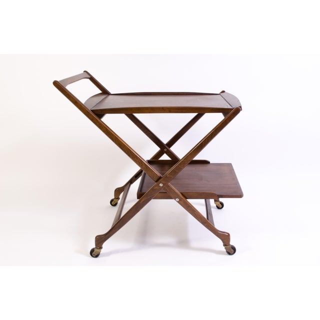 Danish Folding Walnut Bar Cart With Serving Tray - Image 2 of 11