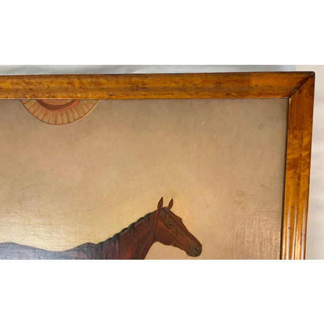 Brown 19th Century Equestrian Stall Oil Painting, Framed For Sale - Image 8 of 13