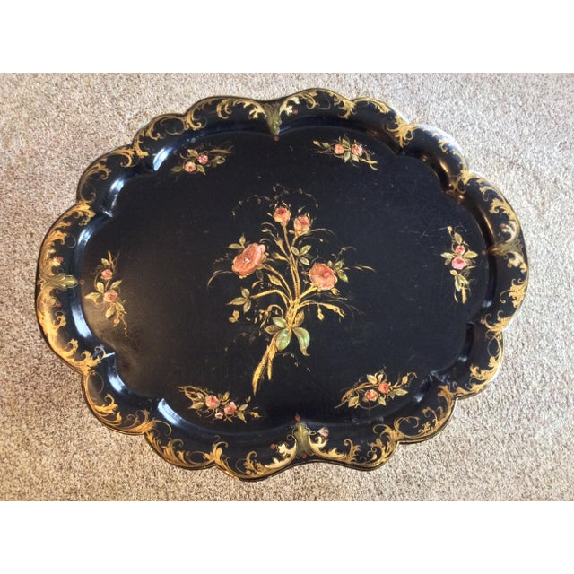 Stunning Jennens and Betridge styled Paper Machier chinoiserie pie crust scalloped edge side table with Mother of Pearl...