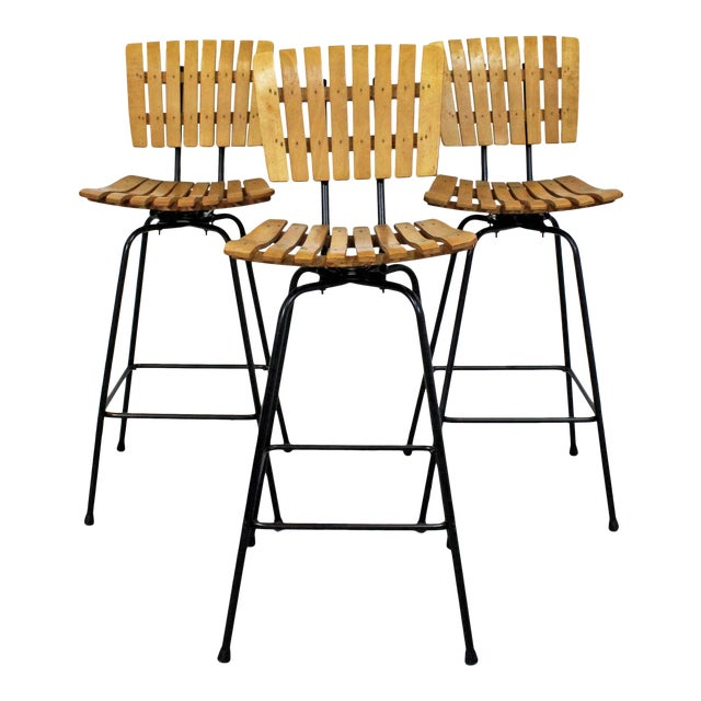 Set of 3 Mid-Century Danish Modern Arthur Umanoff Style Swivel Slat Bar Stools For Sale