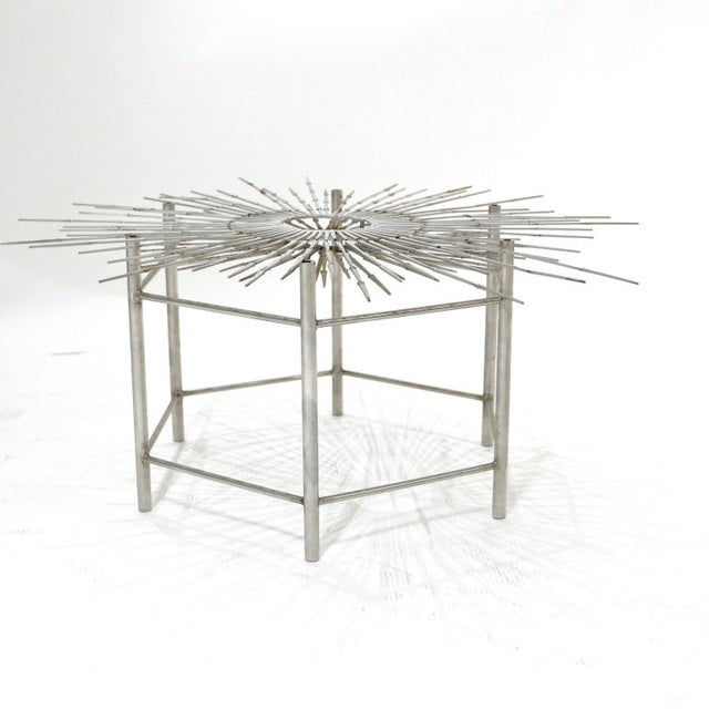 Silas Seandel Bespoke Brutalist Welded Steel Sunburst With Thick Oval Glass Top Table For Sale - Image 4 of 11