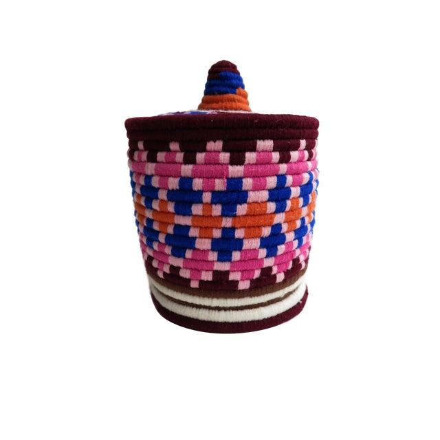 Pink & Blue Moroccan Bread Basket - Image 1 of 4
