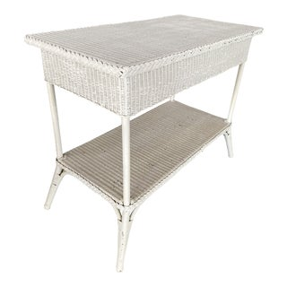 Vintage Coastal Shabby Chic Loyd Flanders White Wicker Console Table For Sale