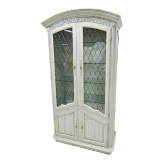 Thomasville County French Green & Cream China Cabinet For Sale