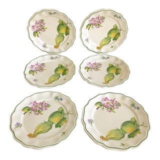Vintage Italian Botanical Style Salad Dining Plates Set/6 For Sale