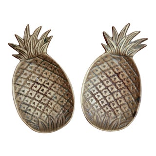 Brass Pineapple Catchalls, a Pair For Sale