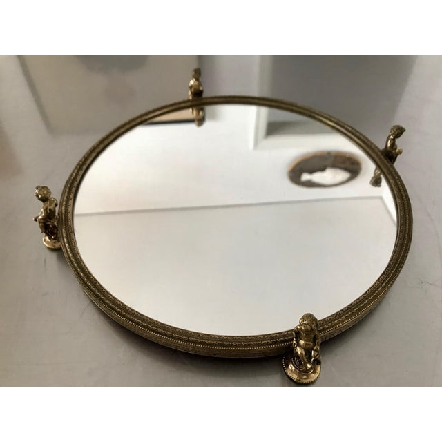 1960s Vintage Cherub Framed Gold Mirrored Cosmetic Tray For Sale - Image 5 of 11