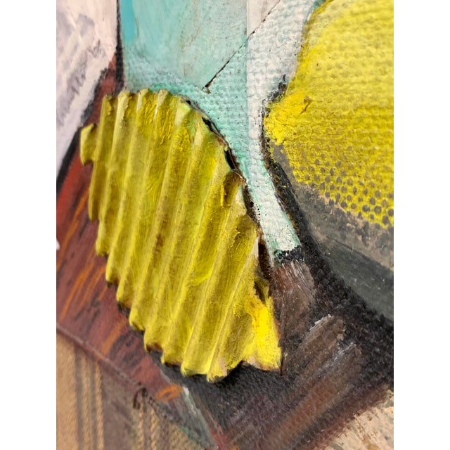 Gray Mid Century Mixed Media Cubist Still Life Oil on Canvas For Sale - Image 8 of 10